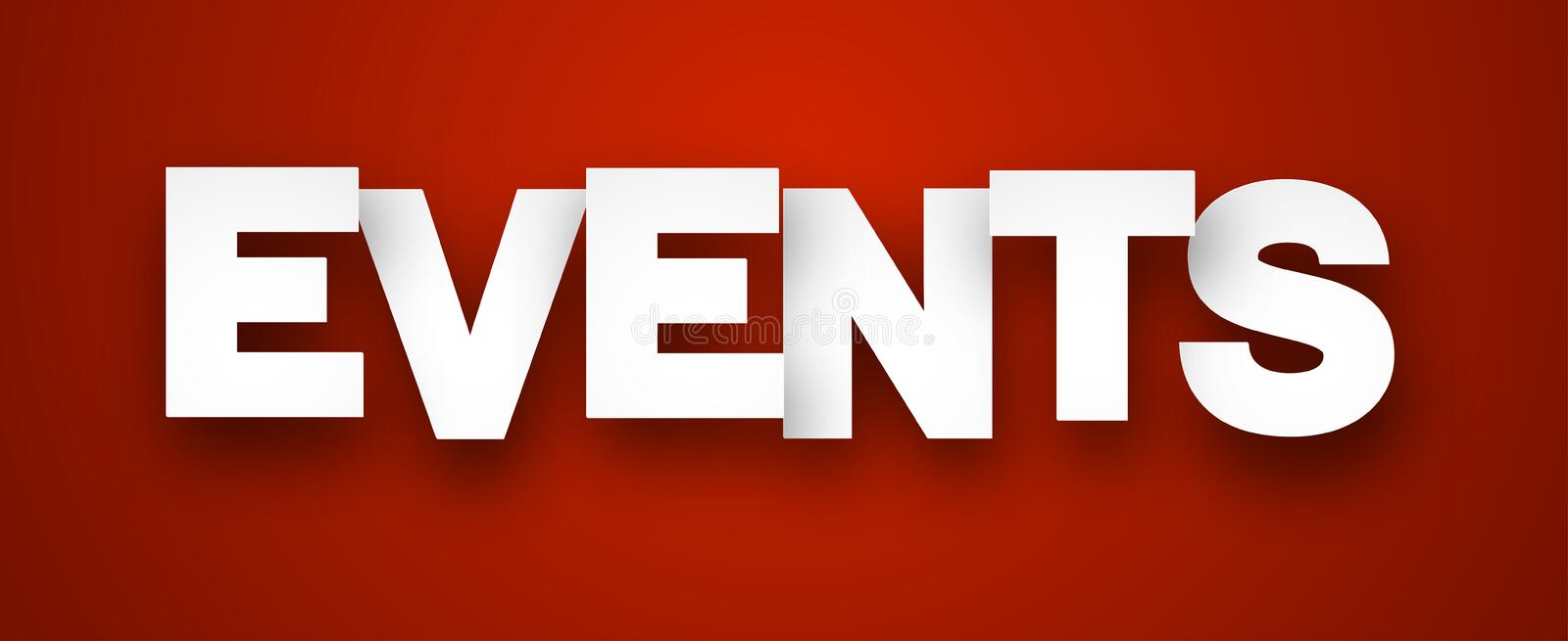 Paper events sign. White events sign over red background. Vector illustration vector illustration