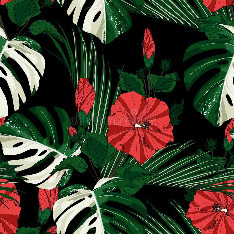 White exotic monstera leaves and red hibiscus flowers branch seamless pattern. Black background stock illustration