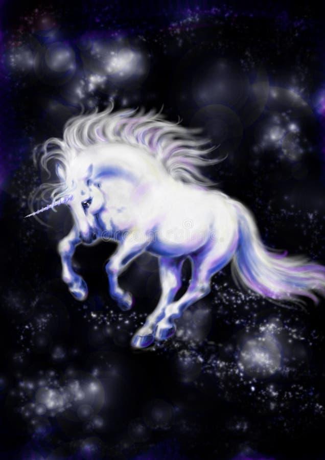 white för 2 unicorn stock illustrationer