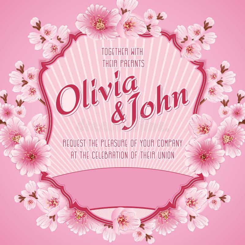 white för bröllop för vektor för inbjudan för bakgrundskortteckningar Sakura blommor, körsbärsröd blomning royaltyfri illustrationer