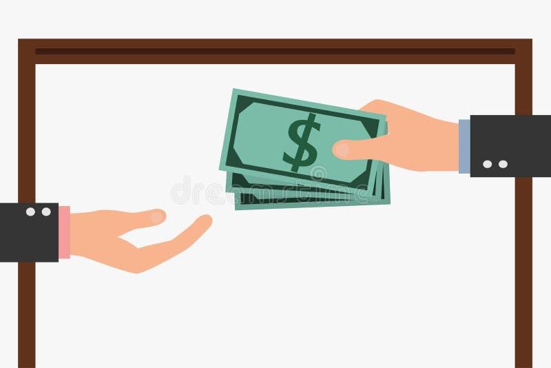 white för dollar för sedelbegreppskorruption isolerad kuvert Affärsman som ger en muta vektor illustrationer