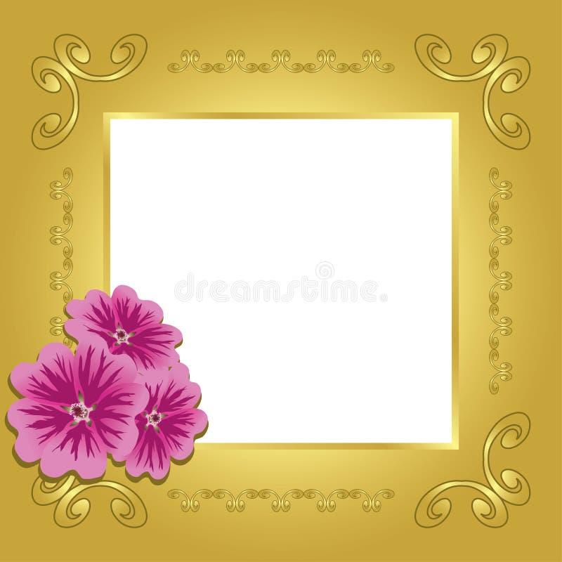 white för eps för kort center guld- stock illustrationer