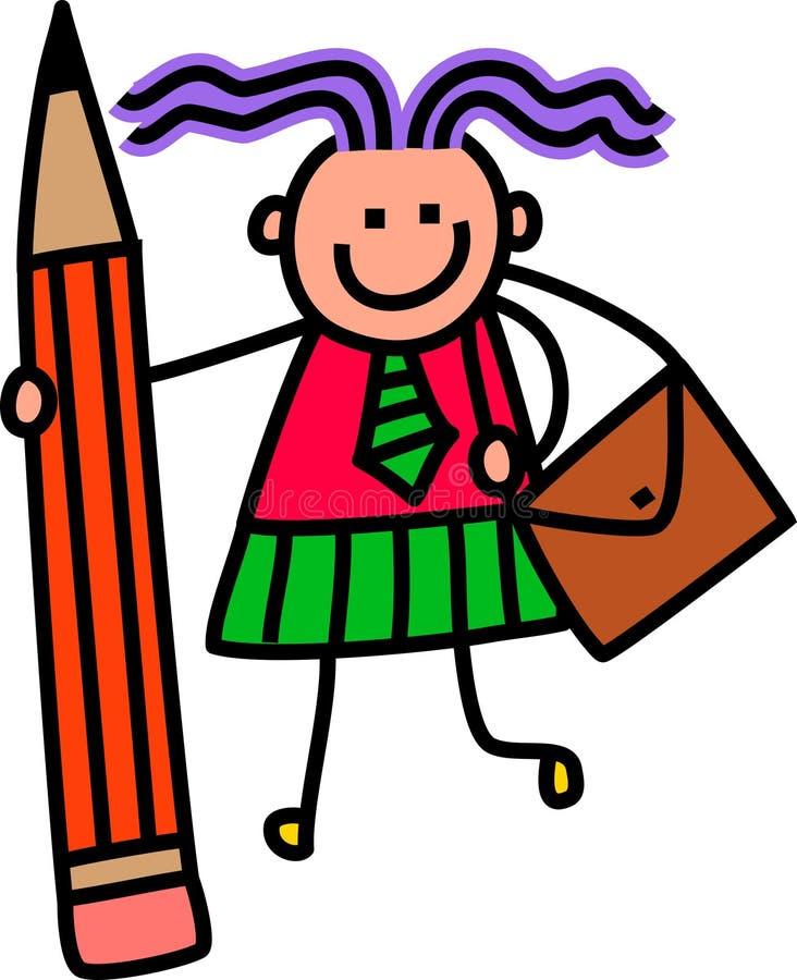white för flickaisoalteskola royaltyfri illustrationer