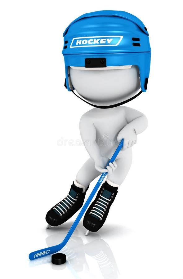 white för folk för hockey 3d leka vektor illustrationer