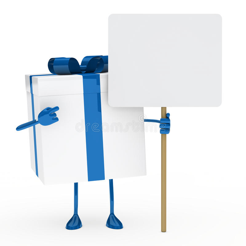 white för gåva för blå ask för affischtavla royaltyfri illustrationer