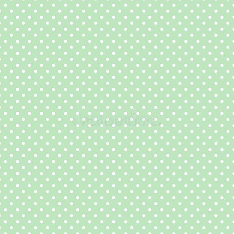 white för grön pastellfärgad polka för prickar liten vektor illustrationer