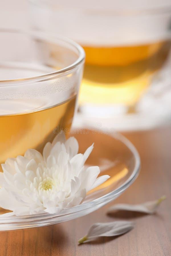 white för grön tea för koppblomma arkivfoton