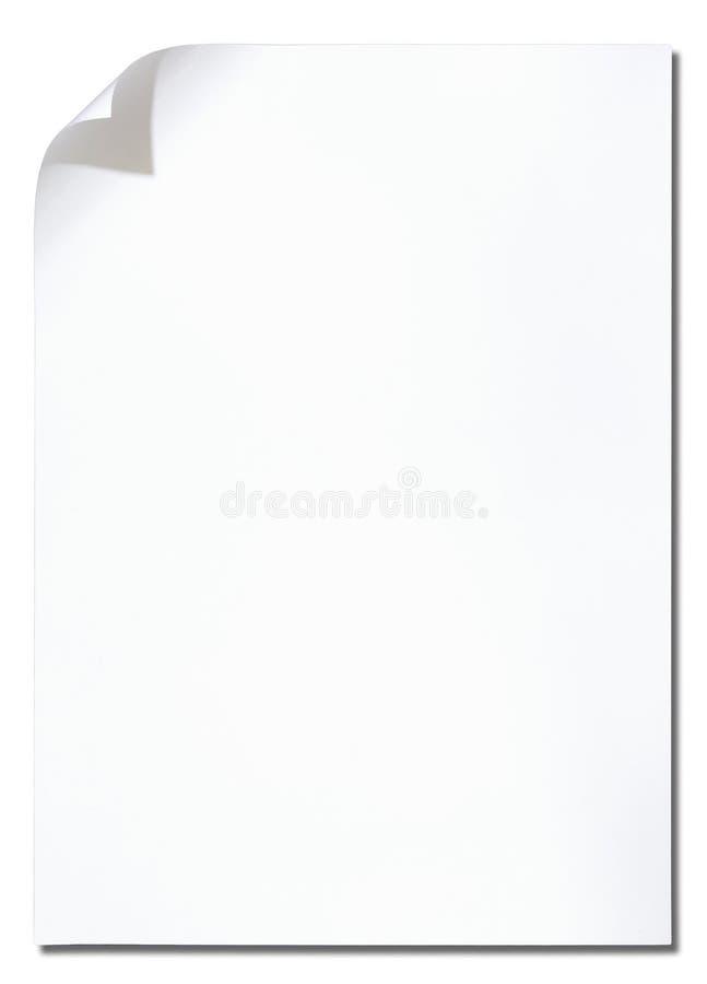 white för hörnkrullningspapper arkivfoto