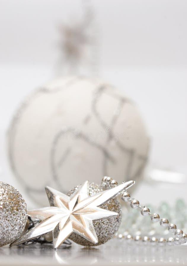 white för julsilverstjärna arkivbild
