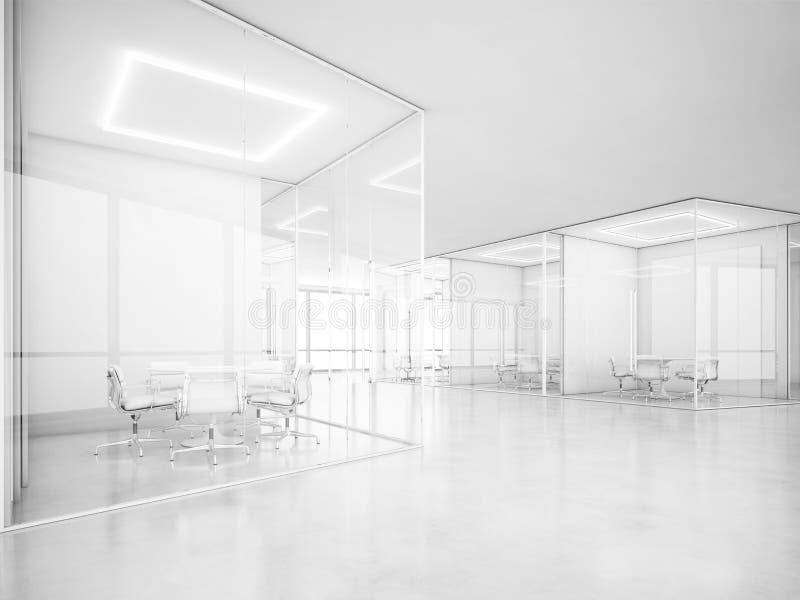 white för kontorsavstånd framförande 3d stock illustrationer