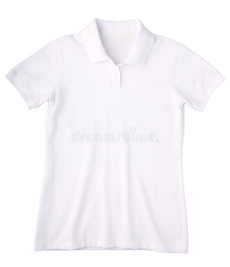 white för ladypoloskjorta fotografering för bildbyråer