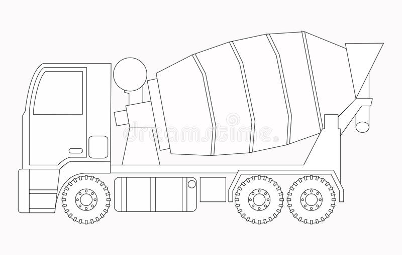 white för objekt för maskineri för bakgrundskonstruktion grävskopa isolerad Konkret blandare Färga sidor för barn vektor illustrationer