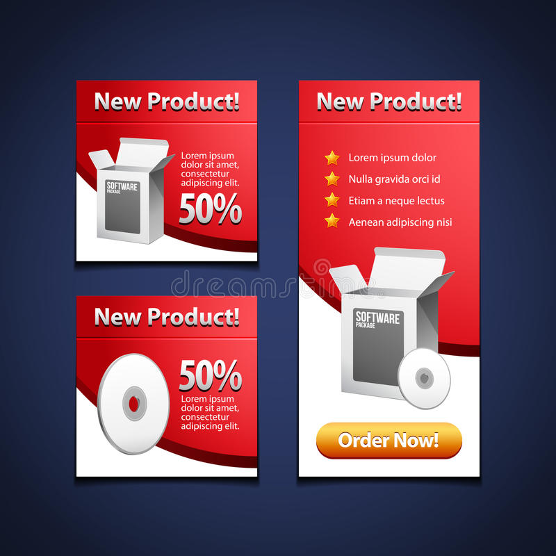 white för programvara för cd disk för ask för 3 baner öppen vektor illustrationer