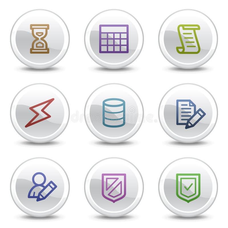 white för rengöringsduk för symboler för databas för knappcirkelfärg stock illustrationer