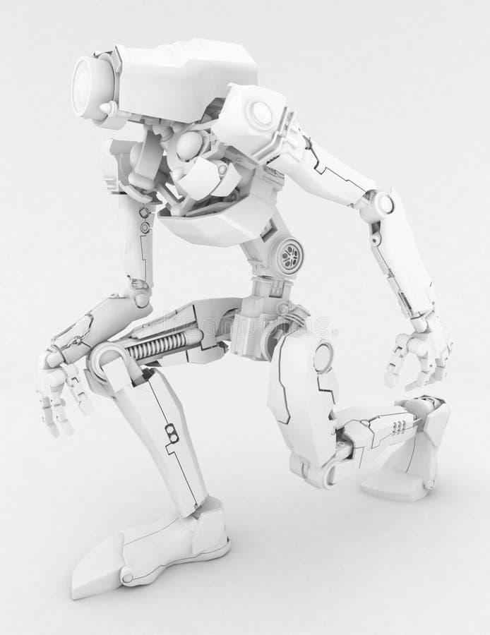white för robot för knä ett slank royaltyfri illustrationer
