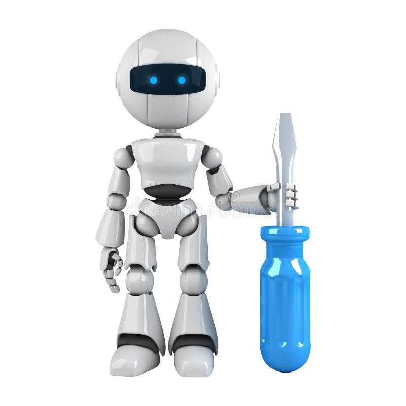 white för robotskruvmejselstay royaltyfri illustrationer