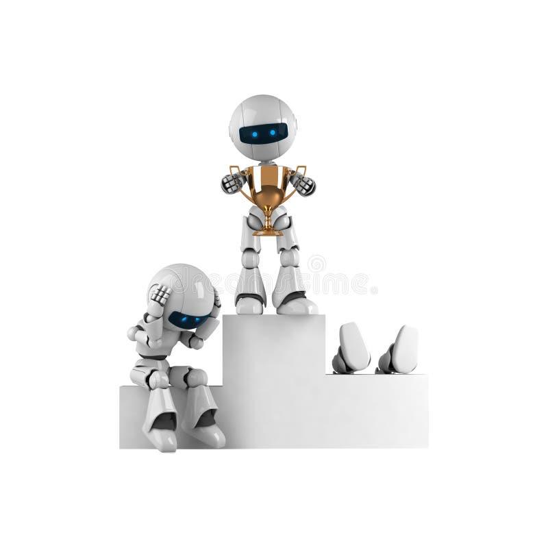 white för robotstaytrofé royaltyfri illustrationer
