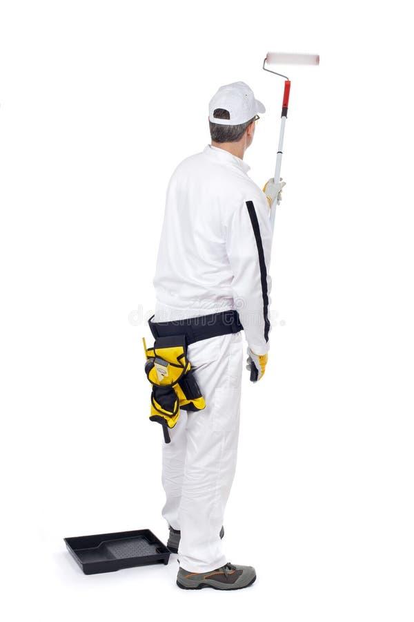 white för rulle för målare för bakgrundshinkmålarfärg royaltyfri fotografi