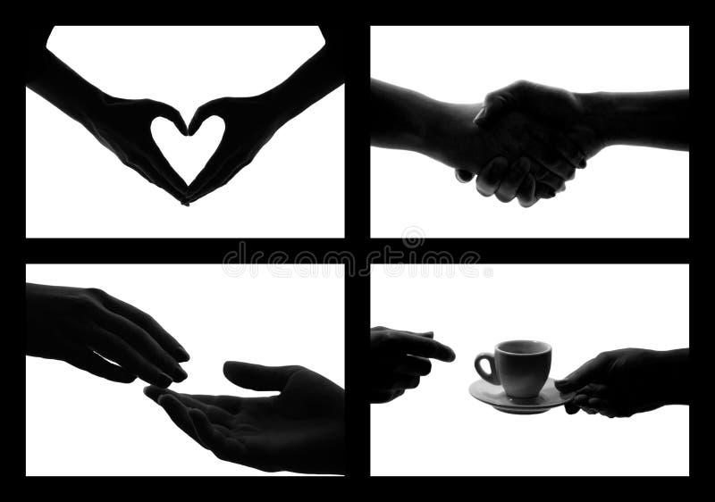 white för set symbol för foto för svarta händer royaltyfria foton