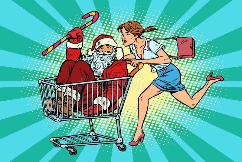 white för shopping för försäljning för bakgrundsjulflicka lycklig Kvinnan som köps Santa Claus trol för shoppingvagn royaltyfri illustrationer