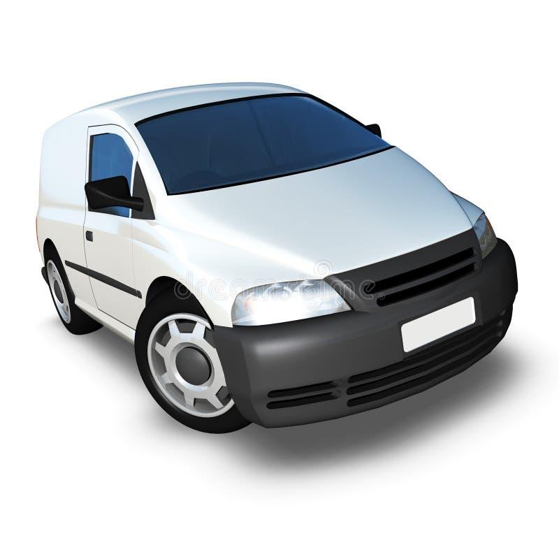 white för skåpbil för framdel för vinkel 3d generisk låg model royaltyfria bilder