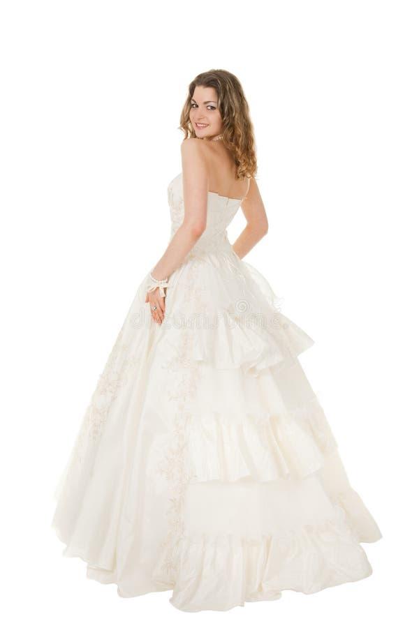 white för skönhetbrudklänning fotografering för bildbyråer