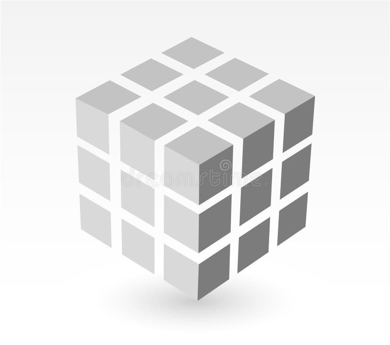 white för skugga för blockkubdroppe royaltyfri illustrationer