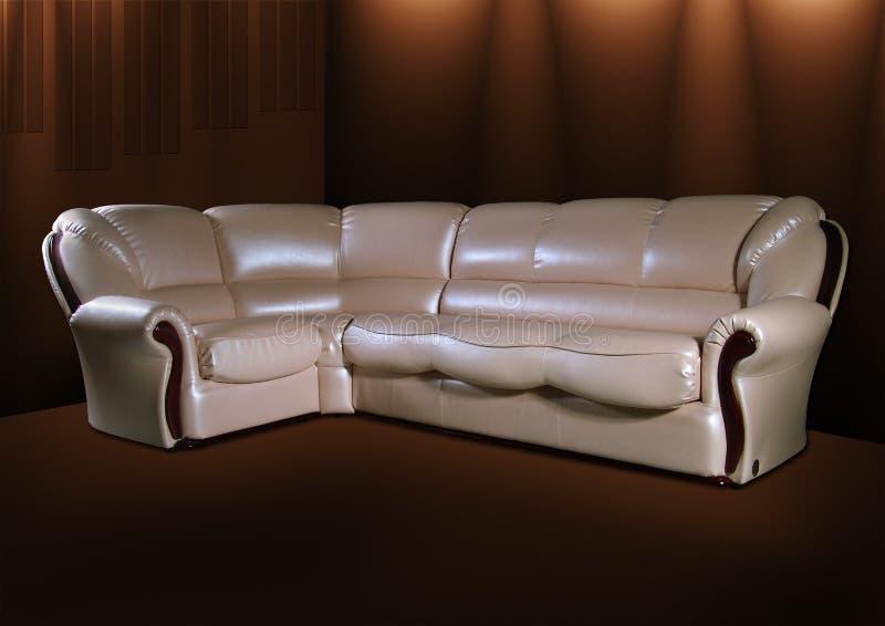 white för sofa för bakgrundsbrownläder royaltyfri fotografi