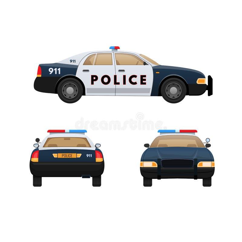 white för stil för polis för bilcartoonish bild isolerad Bensindriven bil medel med systemet för nöd- ljus, siren stock illustrationer