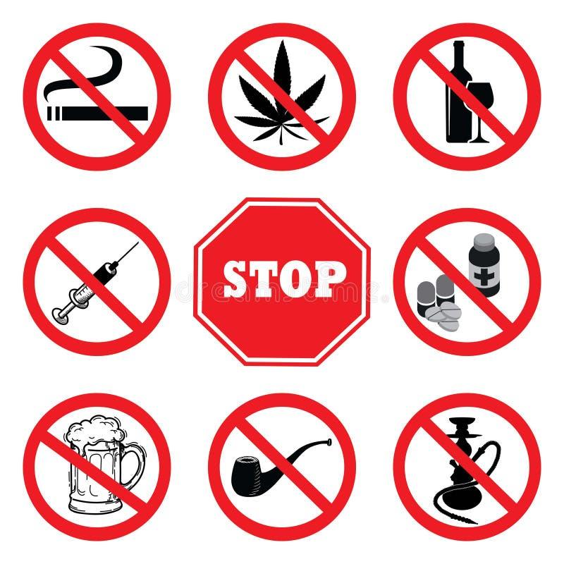 white för stopp för bakgrundsdrogillustration Samling för drogförbudtecken vektor illustrationer