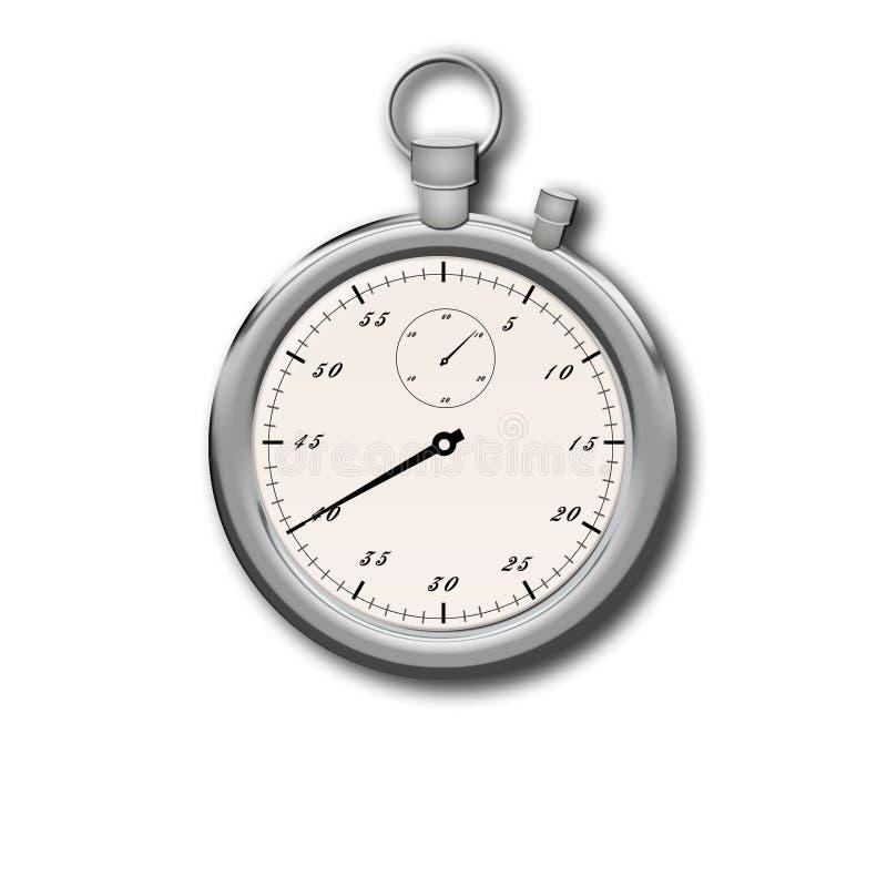white för stopwatch för bakgrundsclippingbana Isolerad metallisk färg för stoppur royaltyfri illustrationer