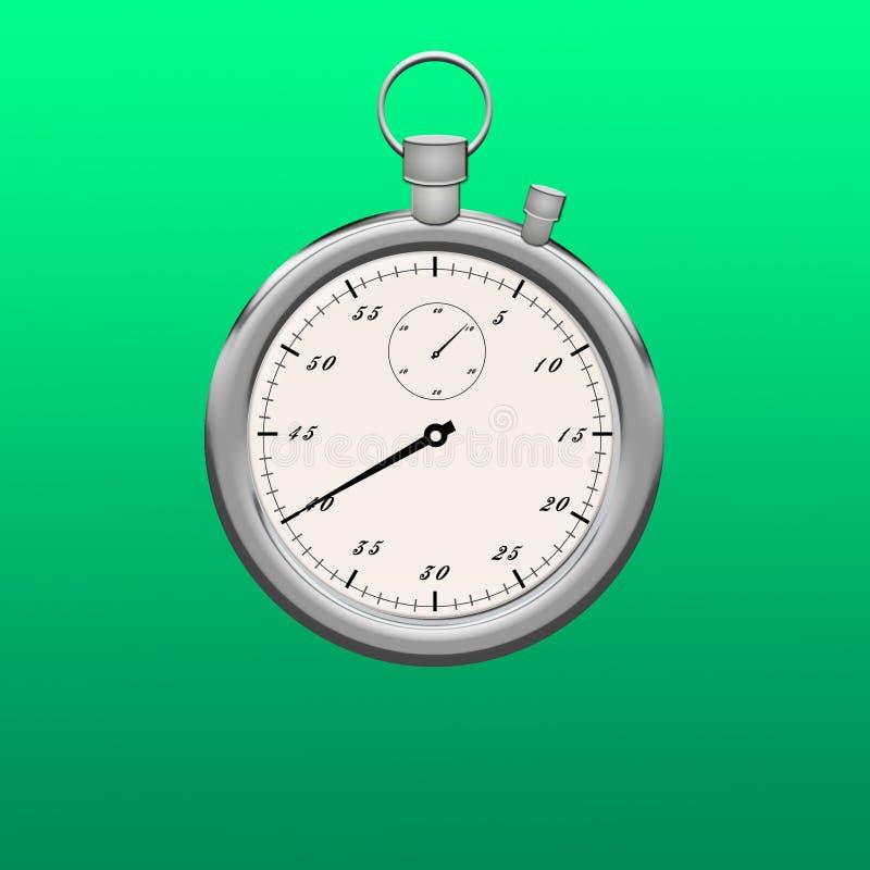white för stopwatch för bakgrundsclippingbana Isolerad metallisk färg för stoppur vektor illustrationer