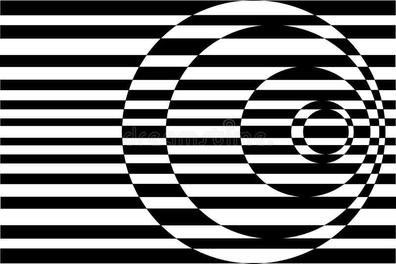 white för svarta cirklar för konst koncentrisk kontrast op stock illustrationer