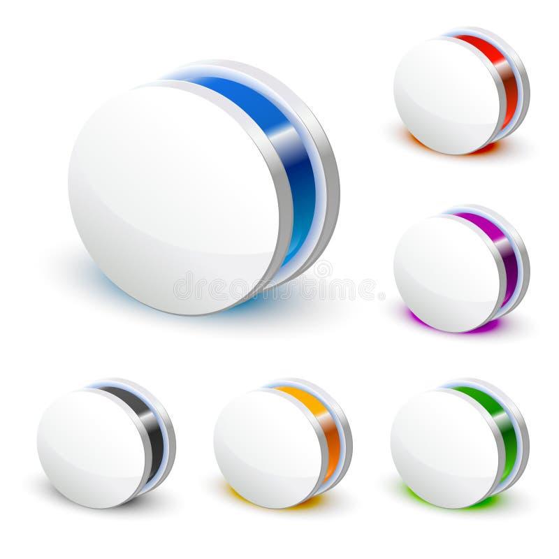 white för symbol för affär 3d rund vektor illustrationer