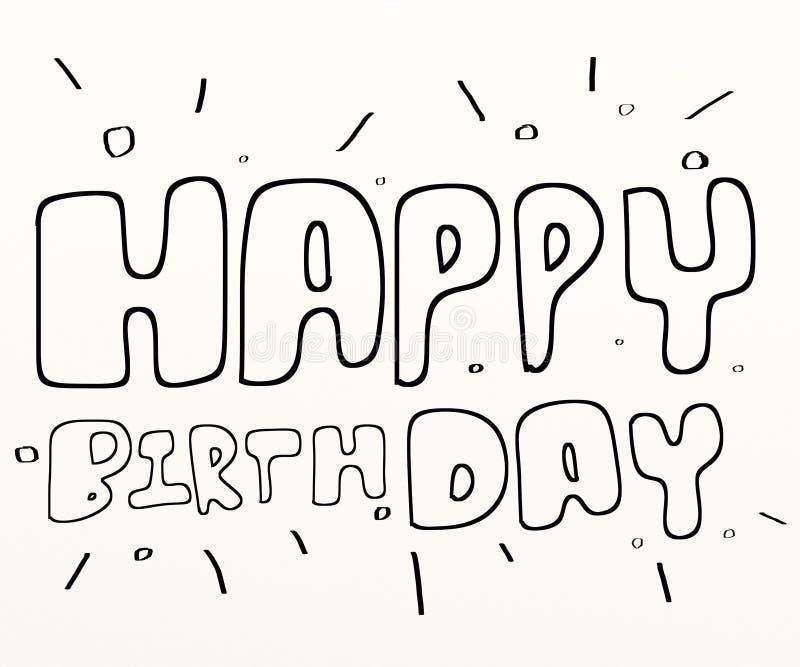 white för text för svart färg för födelsedag lycklig vektor illustrationer