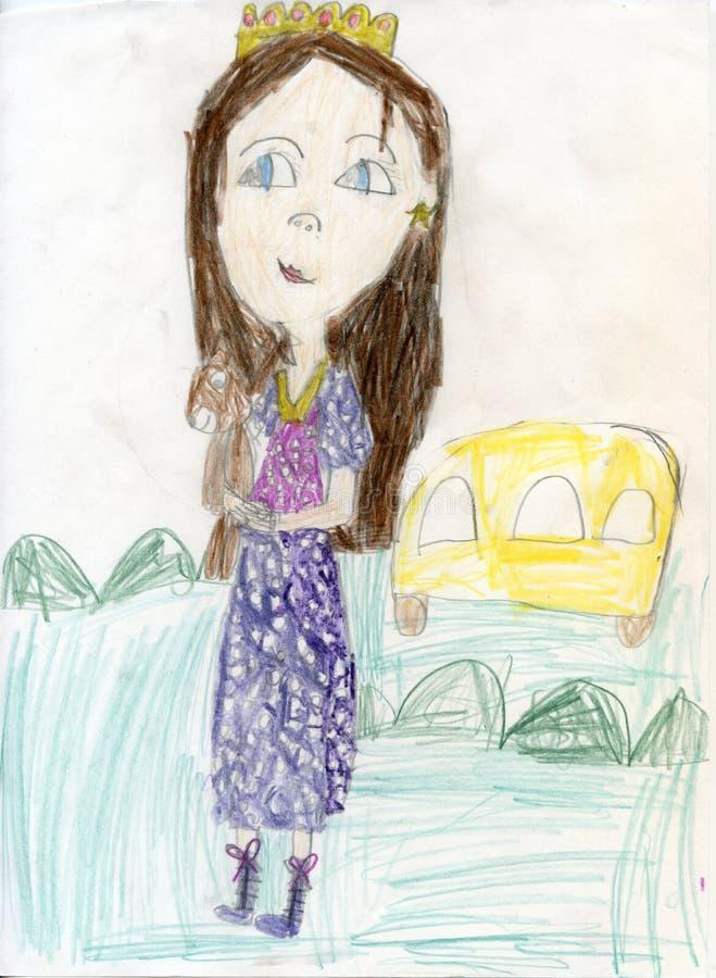 white för tree för bakgrundsteckningsblyertspenna Den tonåriga flickan på går Teckningar för barn` s arkivfoto