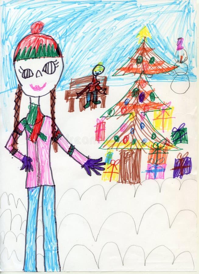 white för tree för bakgrundsteckningsblyertspenna Den tonåriga flickan på går Teckningar för barn` s xmas royaltyfria foton