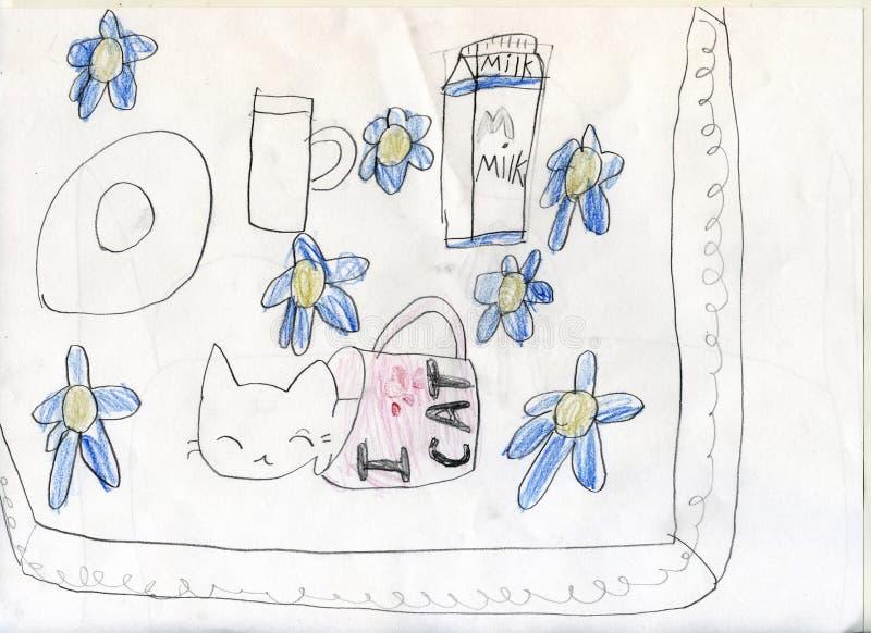 white för tree för bakgrundsteckningsblyertspenna Kattungen får drucken på mjölkar, och sömnar i mjölkar koppen Teckningar för ba arkivfoton
