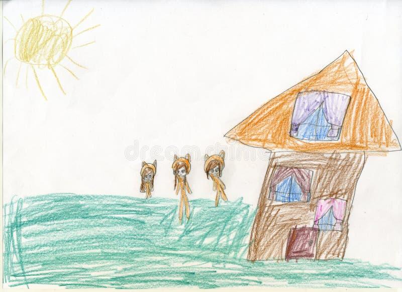 white för tree för bakgrundsteckningsblyertspenna Sagolika går skoginvånare för Teckningar för barn` s arkivbilder