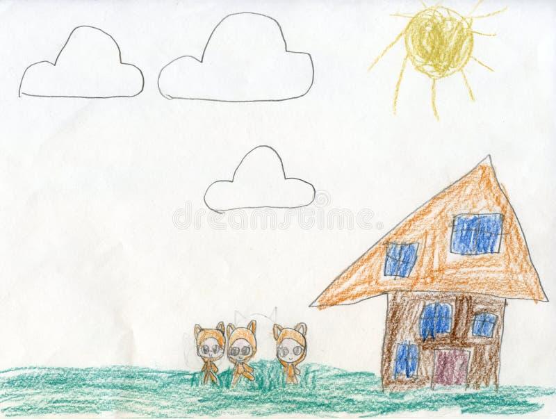 white för tree för bakgrundsteckningsblyertspenna Sagolika går skoginvånare för Teckningar för barn` s fotografering för bildbyråer