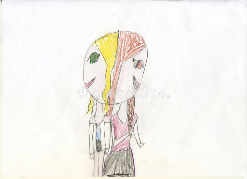 white för tree för bakgrundsteckningsblyertspenna Siamese flickor - kopplar samman Teckningar för barn` s arkivbilder