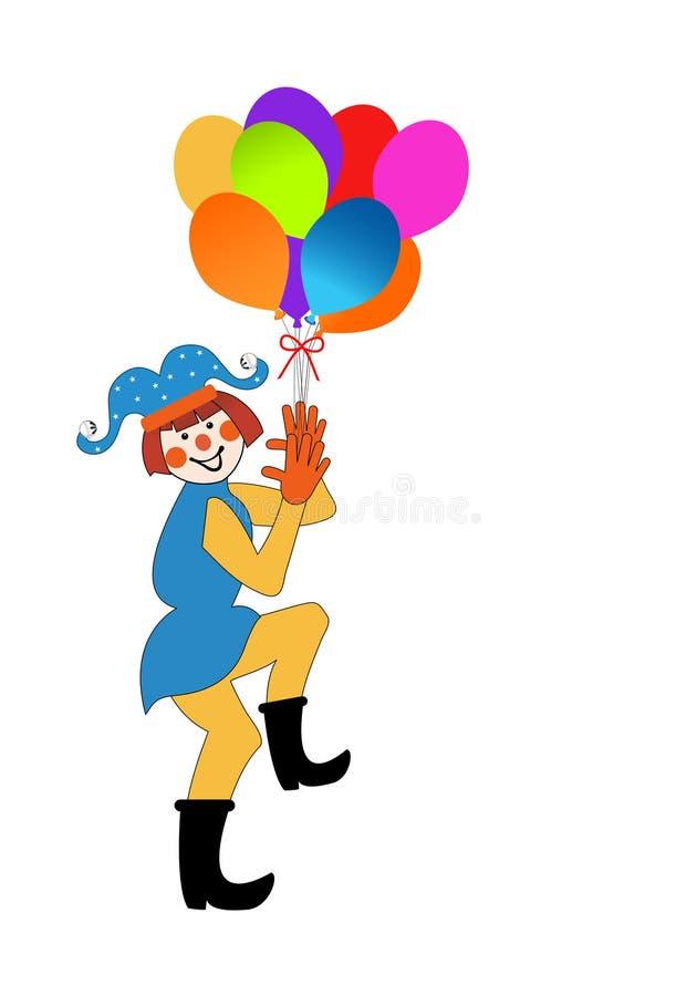 white för vektor för illustration för clown för konstbakgrundsballonger royaltyfri illustrationer
