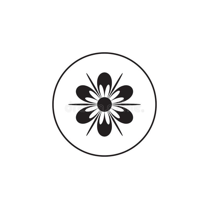 white för vektor för illustration för bakgrundsblommasymbol set Beståndsdel av blomman i en cirkelsymbol Högvärdig kvalitets- gra stock illustrationer