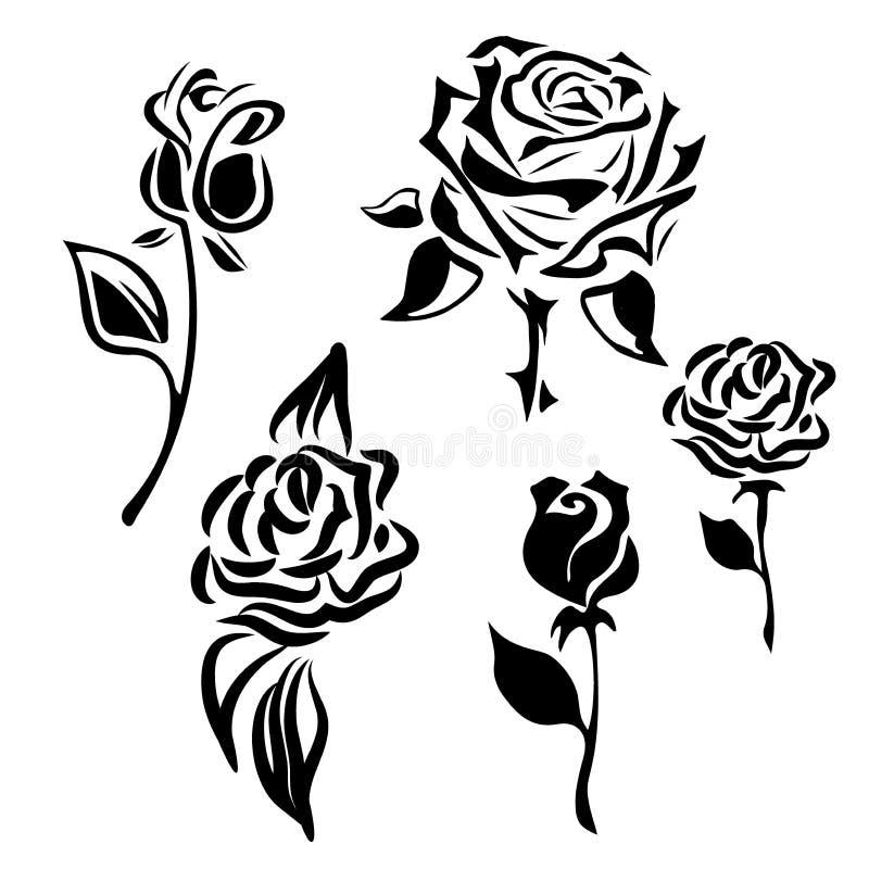 white för vektor för illustration för bakgrundsblommasymbol set Uppsättning av dekorativa rosa konturer rose vektor vektor illustrationer