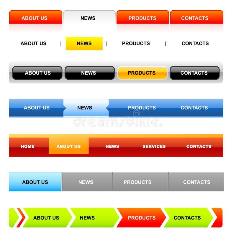 white för website för navigeringmallvariant stock illustrationer