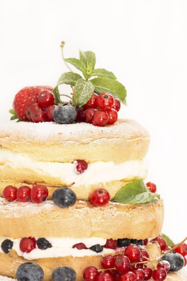 white f?r cakefruktisolering royaltyfria bilder