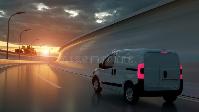 white f?r leveranshuvudv?gsk?pbil Transport och logistiskt begrepp illustration 3d royaltyfri bild