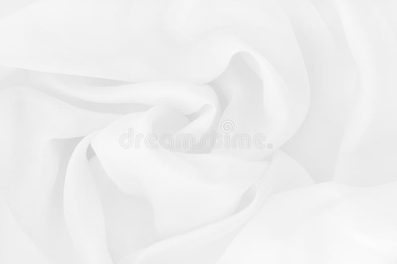 White fabric cloth texture for background and design art work, beautiful crumpled pattern of silk or linen stock photography