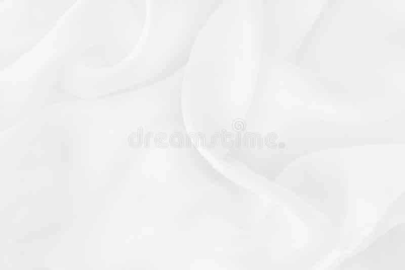 White fabric cloth texture for background and design art work, beautiful crumpled pattern of silk or linen stock photo