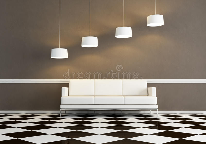 Download White Fabric Sofa In A Minimal Living Room Stock Illustration - Image: 11493726